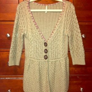 Funky Free People Olive Knit Sweater